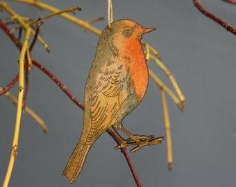 Robin - Wooden Bird Hanging decoration