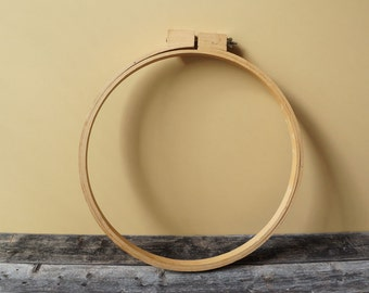 "14"" Vintage Wood Embroidery Hoop Sewing Quilting Plastic Round Ring Adjustable DIY Tool"
