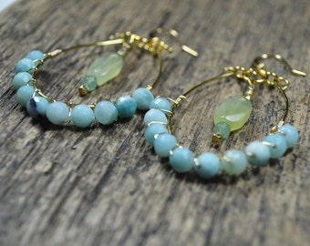 Aventurine Gemstone Chandelier Earrings - Marina