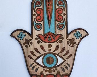 Large Beautiful Boho Hamsa Wall Art, Hand Painted Sacred Protection Symbol, Hand of Fatima Yoga Room Decor