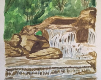 Landscape Original Water Color Painting Waterfall River
