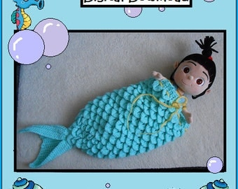 PATTERN: Crochet Mermaid Tail Cocoon, Baby Sleep Bag, Baby Cozy, Blanket, Baby Mermaid Tail, Infant Mermaid Tail, Newborn Mermaid Tail