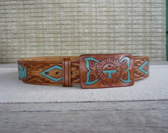 Vintage Leather Belt with Turquoise Detail, Eagle Design, Leather Buckle