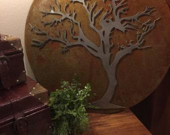 20x20 Rustic Modern Layered Metal Tree Art Home Decor