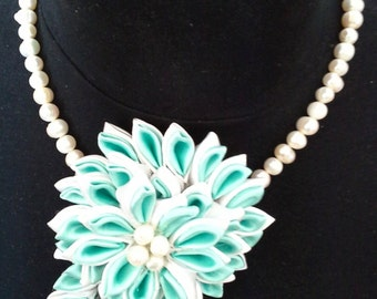 Kanzashi flower necklace