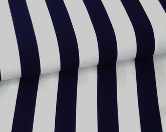 Cotton fabric striped blue white