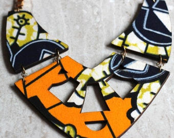 African Print 'Solange' Statement Necklace