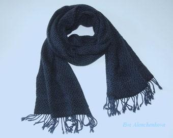Hand woven cashmere silk merino wool scarf