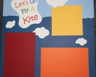 12X12 Scrapbook page, double page layout, Summer Fun, Fly a Kite, Day at the Park, Clouds, Red, Blue, Orange, Green, and Yellow