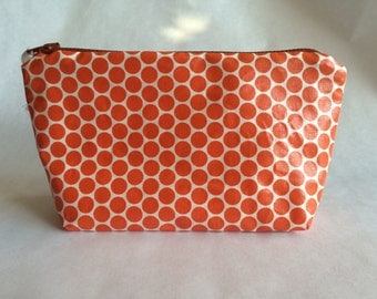 Cotton zipped pouch coated
