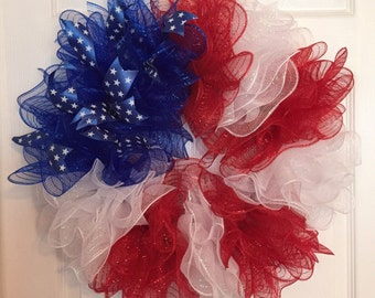 """24"""" Patriotic 4th of July """"Flag"""" Deco Mesh Wreath (Red/White/Blue)"""