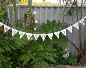 ON SALE!! Congratulations bunting. White/Silver/Gold.