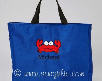 Adorable Monogrammed Crab Tote