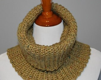 Mocked Ribbed Crochet Cowl, Tan Tweed Cowl, Wide Cowl, Winter Fashion, Neck Warmer