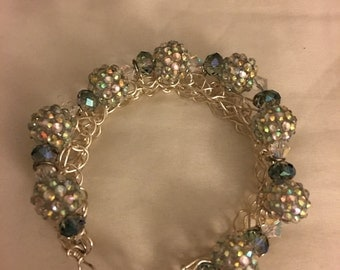 Silver beads in silver wire