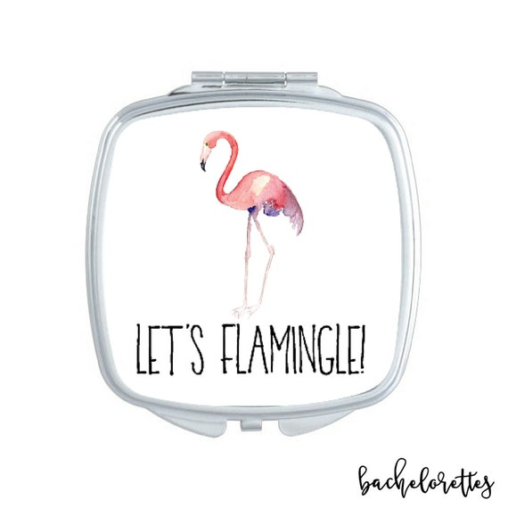 Let's Flamingle compact mirror