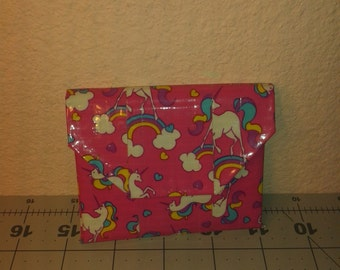 Unicorns and Blue Duct Tape Coin Pouch