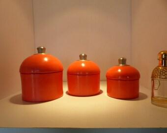 decoration set of 3 round boxes tadelakt coral red