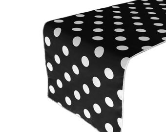 Zen Creative Designs Premium Cotton Table Top Runner Polka Dot White Black
