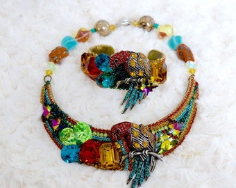 """Wendy Gell, Rainbow Parrot, Necklace and Bracelet """"wristy"""", Drag Queen, Vintage Wendy Gell, Wendy Gell set, Wendy Gell, Wendy Gell jewelry"""