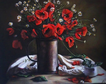 "Still Life ""Poppies"", Dry Pastel on Cardboard 23.6in х 19.7in"