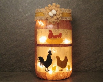 Chicken Coop Mason Jar Light, Hen House Light, Farm House Light