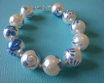 Pearl & Blue Bracelet