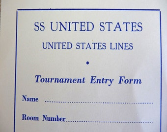 SS United States --  United States Lines Ocean Liner Tournament Entry Form Souvenir