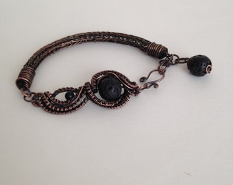 Copper wire wrapped adjustable bracelet with Lava Rock beads
