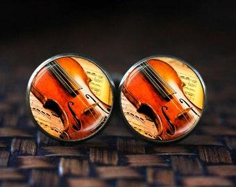 Violin Cufflinks,  Classical Music Cufflinks, Music cuff links, music gift, glass dome cufflinks
