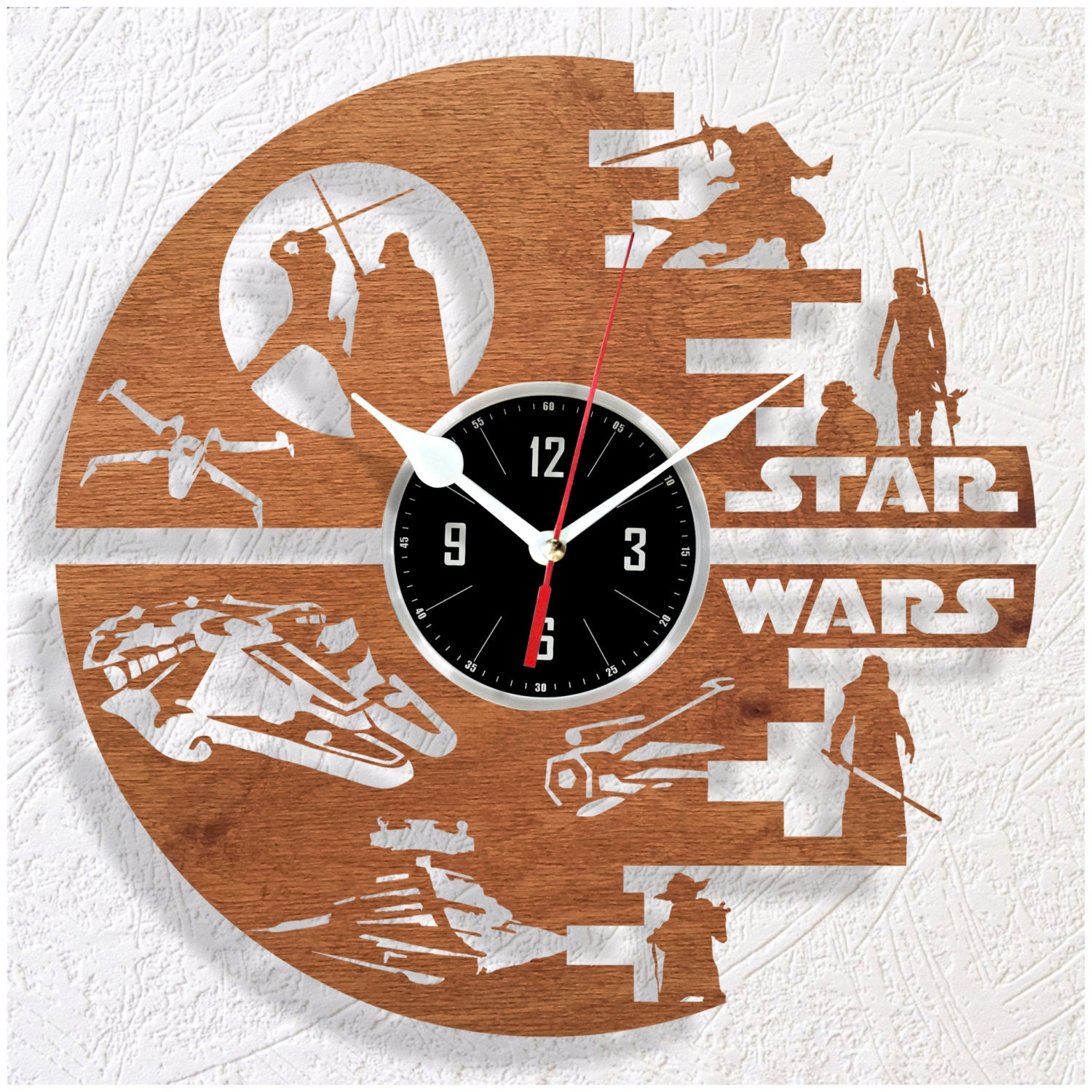 wooden wall clock star wars by woodenhmcraft on etsy. Black Bedroom Furniture Sets. Home Design Ideas
