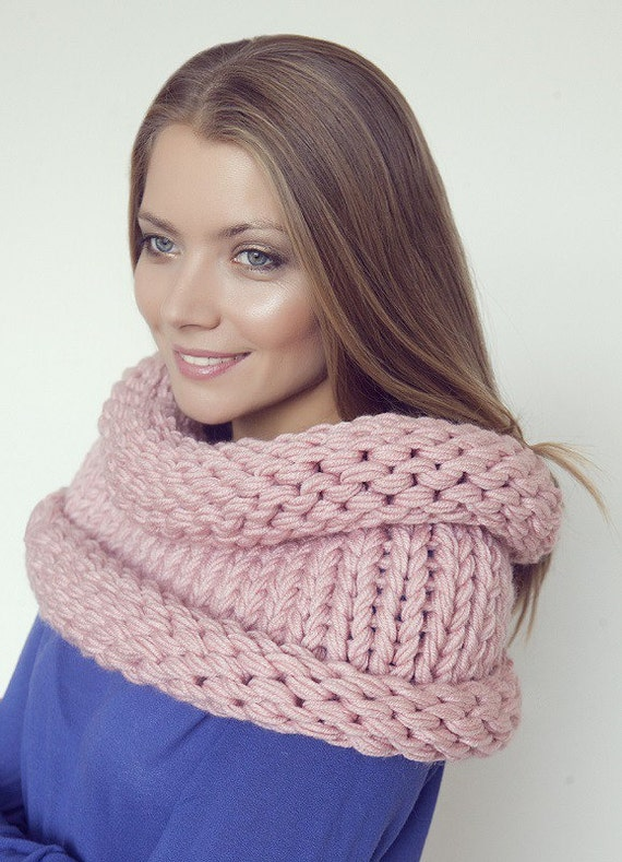 Pink Knitted cowl Circle Scarf Hand Knit , Knitted scarf LIC