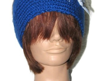 Hand Knitted Blue Embroidered Headband