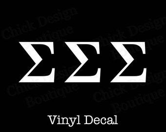 Sigma Sigma Sigma Greek Alphabet Letters Vinyl Decal