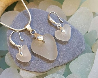 ON SALE Seaglass Heart pendant and earring set
