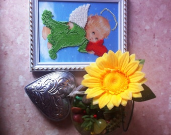 Beads Embroided Cute Green Angel