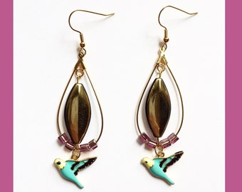 Gold Plated Hooped Bird Earrings