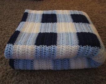 Crocheted Afghan - Blue Gingham Design