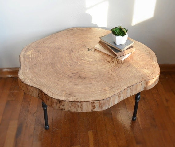 Rustic Wood Slice Coffee Table: Live Edge Coffee Table Log Slice Table By HandcraftedArcadians