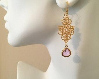 Gold Filigree Earrings Pink Lavender Glass Drop Earrings Long Dangle Chandelier Earrings Pink Wedding Jewelry Bridesmaid Gift Pink Teardrop