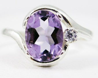 Lavender Amethyst Oval and White CZ Accent Ring Sterling Silver