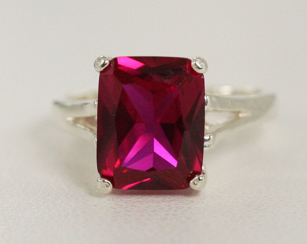 Ruby Ring Sterling Silver Emerald Cut Ruby Ring July by AerLuna