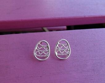 Silver Easter earrings, Oval earrings, Sterling silver Easter earrings, Silver stud earrings, Oval studs, Silver women earrings Easter  eggs