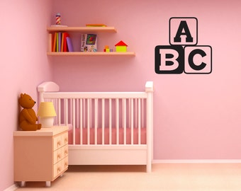 ABC Kids Blocks wall graphic - children's nursery, playroom, bedroom decorative vinyl wall art decal or removable sticker-0025
