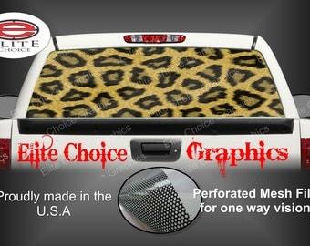 Leopard Print Rear Window Graphic Tint Decal Sticker Truck SUV Van Car