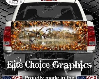 Mallards Duck Obliteration Buck Blaze Camo Truck Tailgate Wrap Vinyl Graphic Decal Sticker Wrap