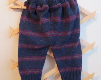 Upcycled Wool Longies, Blue with Red/grey strips