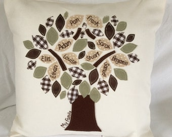 Family Tree Cushion in Greens and browns. Personalised, hand embroidery. Family Keepsake, heirloom