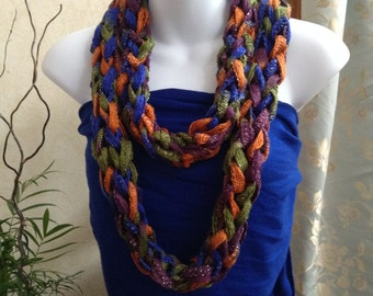 The Versatile Cowl in Purple Blue Green and Rust