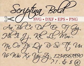 SCRIPTINA SCRIPT BOLD Handwriting Brush Font Svg, Dxf, Eps, Png;  Digital Monogram DiY, Fancy Script, Cursive Font, Silhouette Files, Cricut